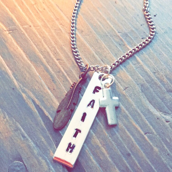"""handmade Jewelry - Hand stamped stainless steel """"FAITH"""" necklace"""
